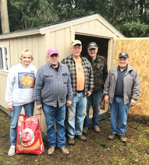 From left to right: PFOA Executive Director Danette Grady, and Sequim Sunrise Rotary volunteers Charlie Johnson, Cliff Brehan, Jack Tatom, Chris Coolures