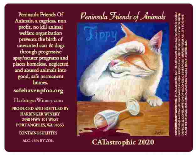 The 'Feline Fine at Harbinger Wine' 2020 label